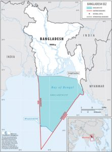 Fig: Bangladesh sovereignty established over the area in the Bay of Bengal shows in blue color and the wite -grey portion within the red color boundary are the international portion- Image Courtesy: World Bank study, 2018