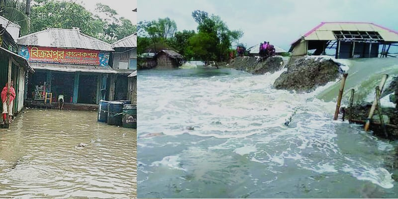 Floods and tidal surge have inundated several districts in the south. New areas are being flooded.