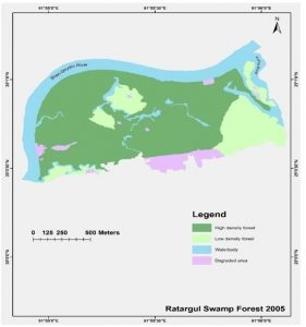 Figure 4.4: Land use patterns in 2005 at Ratargul Ecotourism Spot