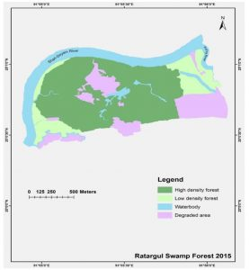 Figure 4.5: Land use patterns in 2015 at Ratargul Ecotourism Spot