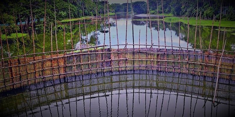 Fish Farming Through Fences in the Flowing Mukteshwari River, Bangladesh
