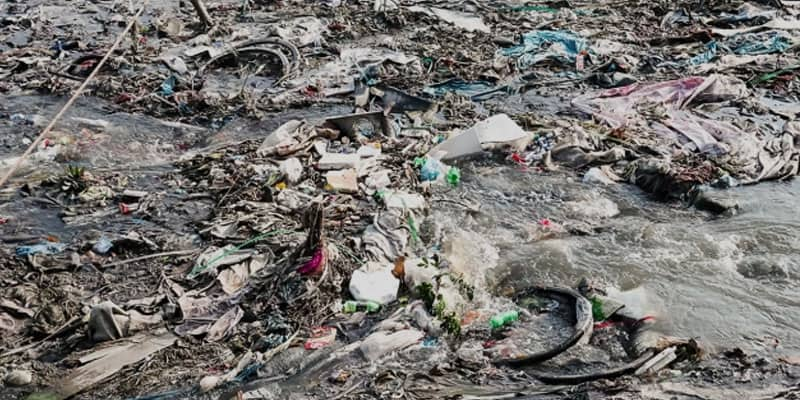 Thousands of tons of plastic-polythene falling into the rivers every day