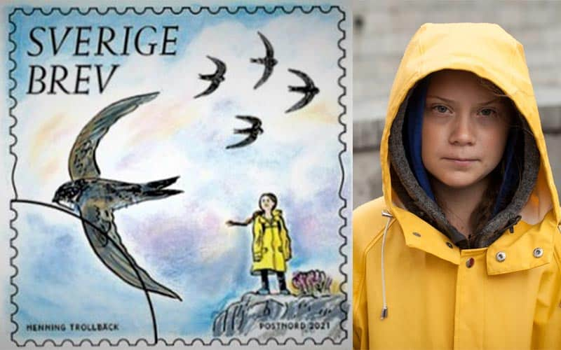 Greta Thunberg's photo on the Swedish stamp - The Guardian