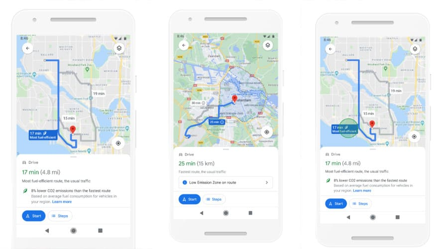 The eco-friendly route will show on Google Maps! A new update is coming!