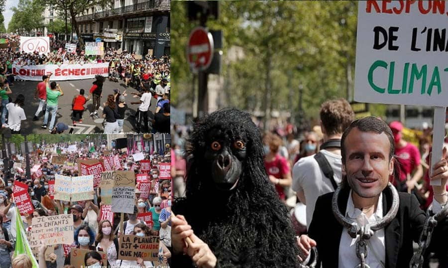 Protest against President Macron in France for failing to protect the environment